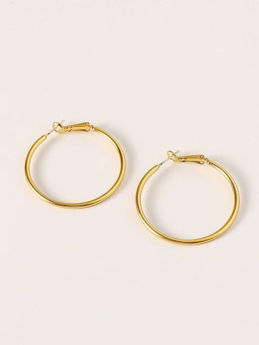 HYACINTH Brass Round Minimalist Hoop Earring 0