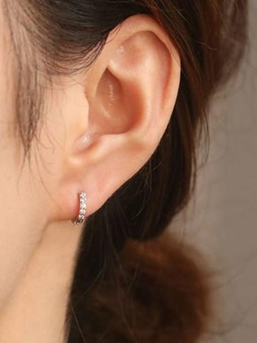 ACCA Brass Cubic Zirconia Round Minimalist Huggie Earring 1
