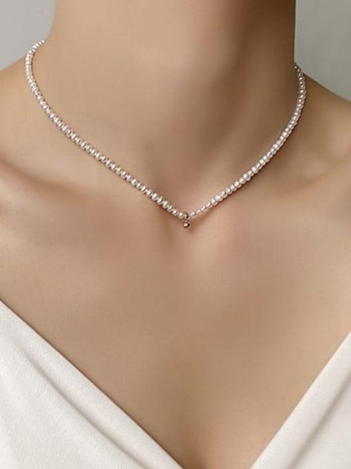 HYACINTH Brass Imitation Pearl Round Vintage Necklace 1