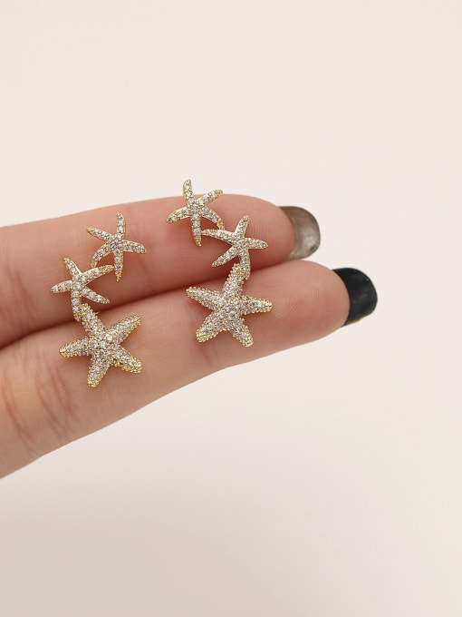 HYACINTH Brass Cubic Zirconia Star Classic Stud Earring 1