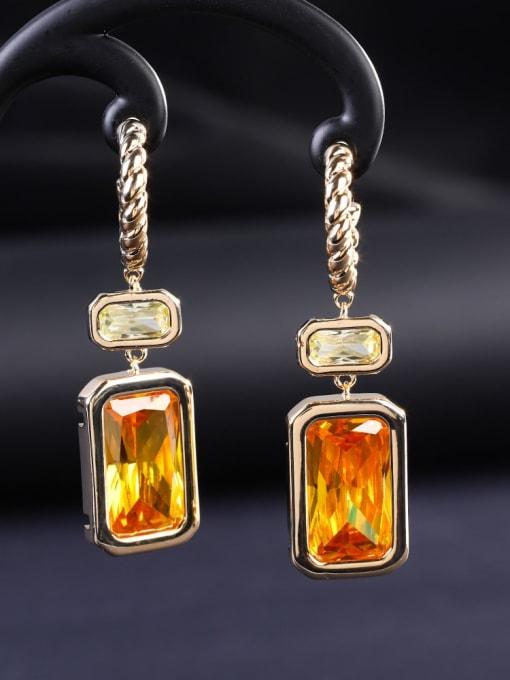 OUOU Brass Cubic Zirconia Geometric Luxury Hook Earring 1