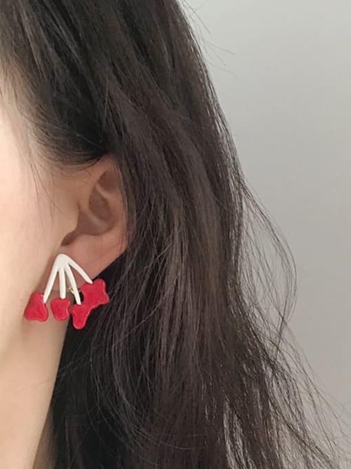 Five Color Alloy Enamel Heart Cute Stud Earring 1