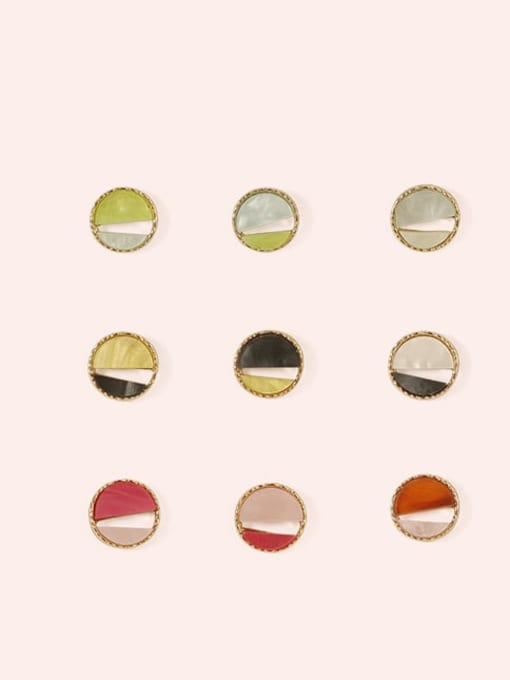 Five Color Alloy Enamel  Cute Round Contrasting Color  Stud Earring