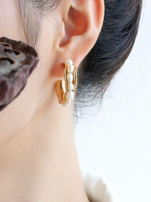 Five Color Brass Imitation Pearl Geometric Minimalist Stud Earring 1