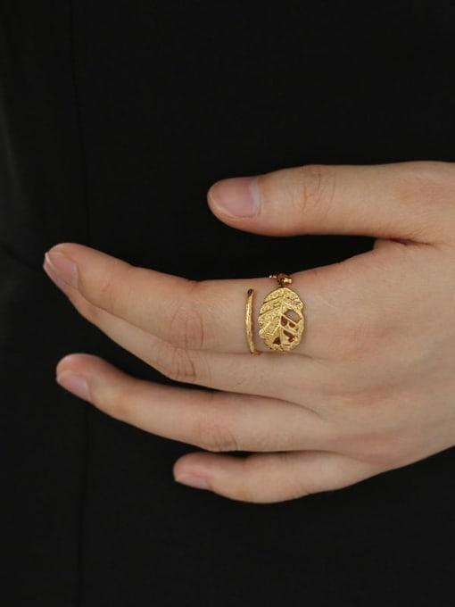 Five Color Brass Tree leaf Vintage Band Ring 1