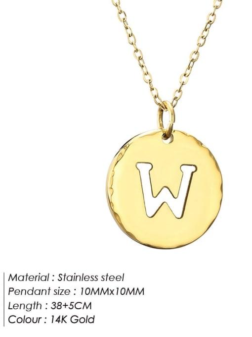 W Titanium Steel Letter Minimalist Round Pendant Necklace