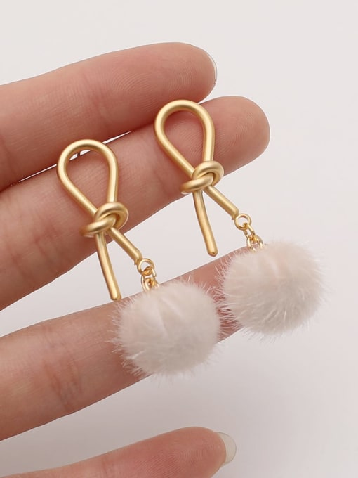 HYACINTH Brass Plush Ball Ethnic knot Drop Earring 3