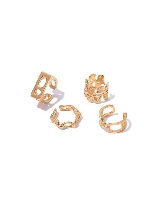 ACCA Brass Geometric Hip Hop Band Ring 4