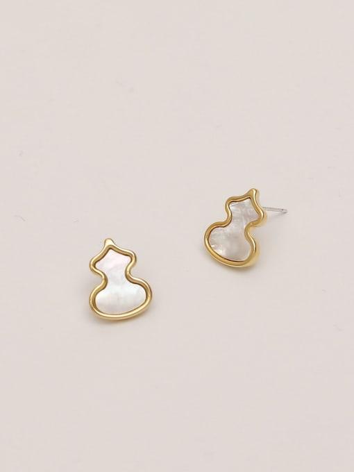 HYACINTH Brass Shell Irregular Minimalist Stud Earring 4