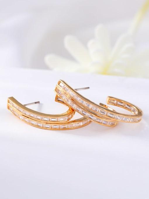 golden Brass Cubic Zirconia Geometric Minimalist Stud Earring