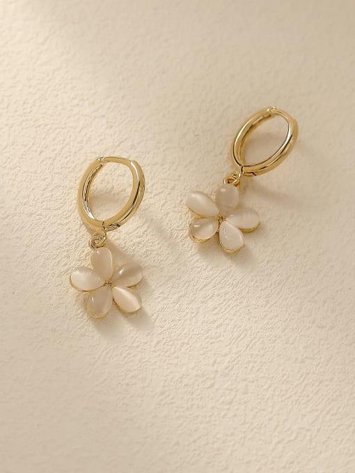 HYACINTH Brass Cats Eye Geometric Minimalist Stud Trend Korean Fashion Earring 3
