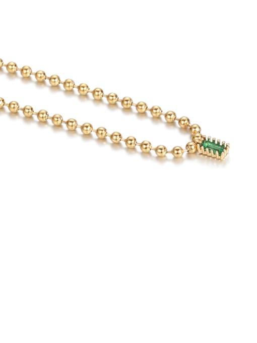 golden Brass Bead  Chain Geometric Vintage Necklace