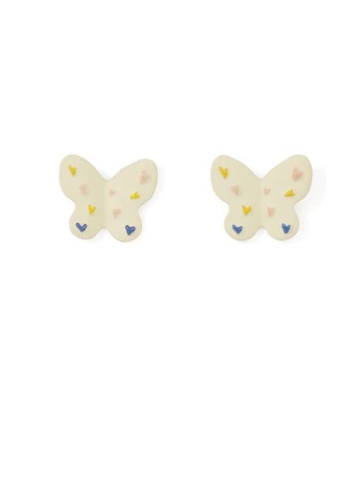 Five Color Alloy Enamel Butterfly Cute Stud Earring 2