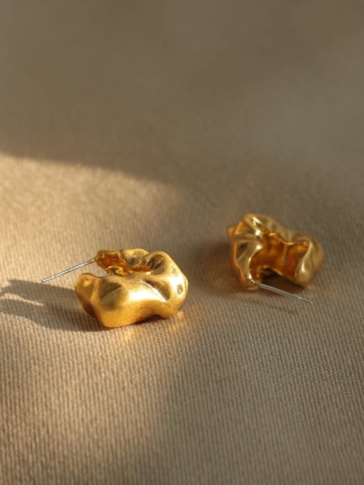 ACCA Brass Smooth Irregular Vintage Stud Earring 2