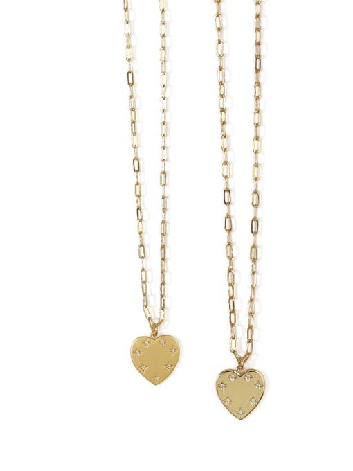 ACCA Brass Rhinestone Heart Minimalist pendant Necklace 0