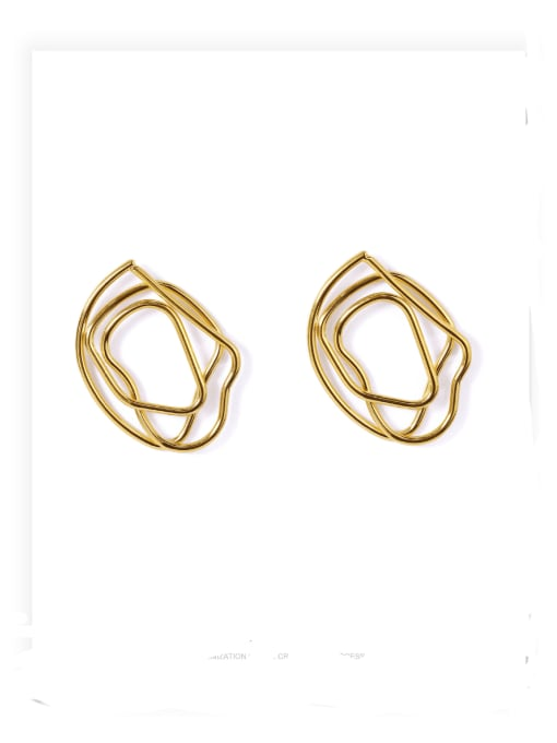 ACCA Brass Hollow Geometric Vintage Stud Earring 0