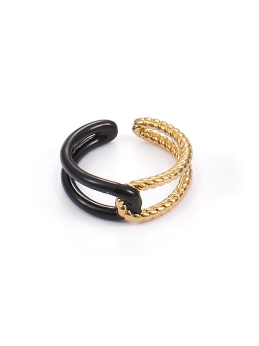 Black drip (adjustable) Brass Enamel Geometric Minimalist Band Ring