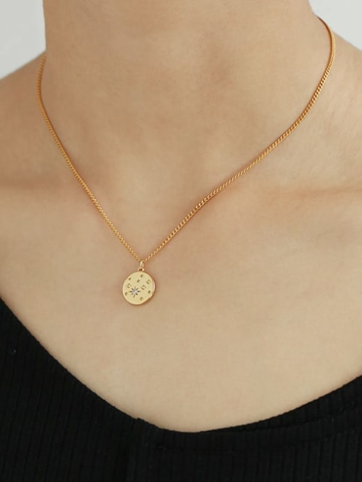 TINGS Brass Star Minimalist Hollow Round Pendant Necklace 1