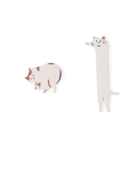 Five Color Alloy Enamel  Cute White Cat asymmetric Stud Earring 2
