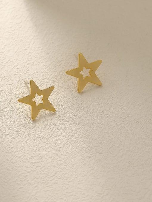 HYACINTH Brass  Hollow Star Minimalist Stud Earring 3