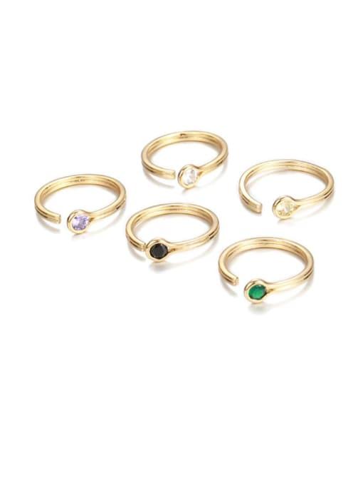 Five Color Brass Rhinestone Rainbow Minimalist Band Ring 0