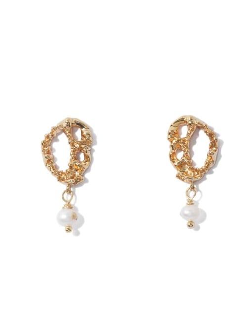 Gold Earrings Brass Imitation Pearl Geometric Vintage Drop Earring