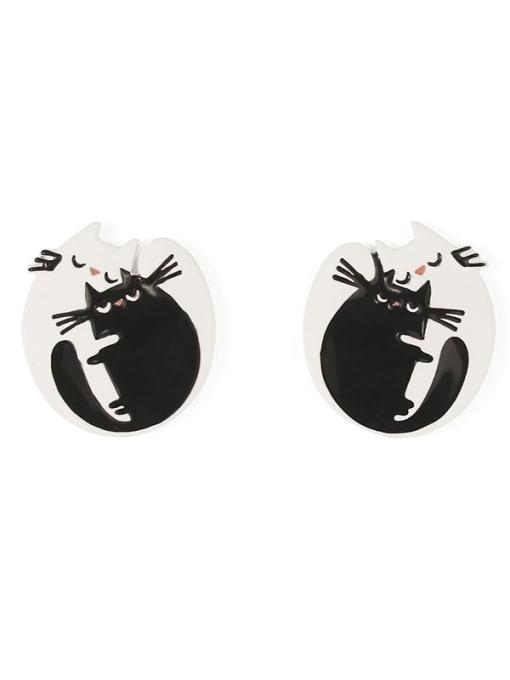 Five Color Alloy Enamel Cat Cute Stud Earring 3