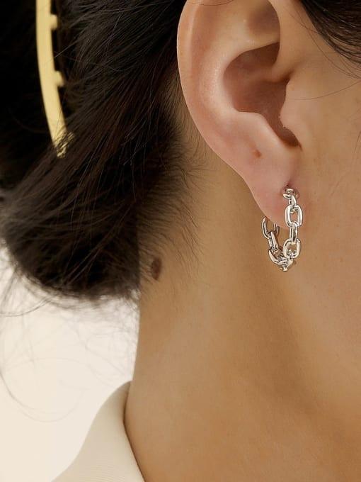 HYACINTH Brass Hollow Geometric Minimalist Hoop Earring 1