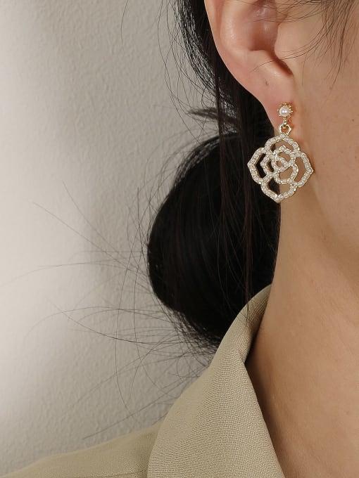HYACINTH Brass Imitation Pearl Geometric Bohemia Hook Earring 1