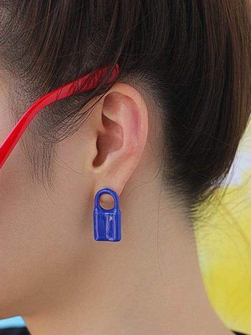 Five Color Brass Multi Color Enamel Locket Minimalist Huggie Earring 1