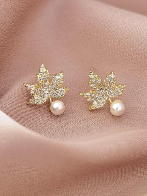 HYACINTH Brass Cubic Zirconia Leaf Vintage Stud Earring 0