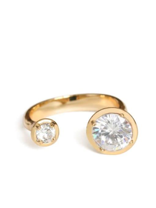 golden Brass Rhinestone Geometric Minimalist Band Ring