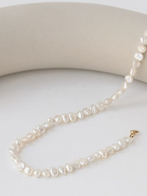 TINGS Brass Freshwater Pearl Irregular Minimalist Necklace 3