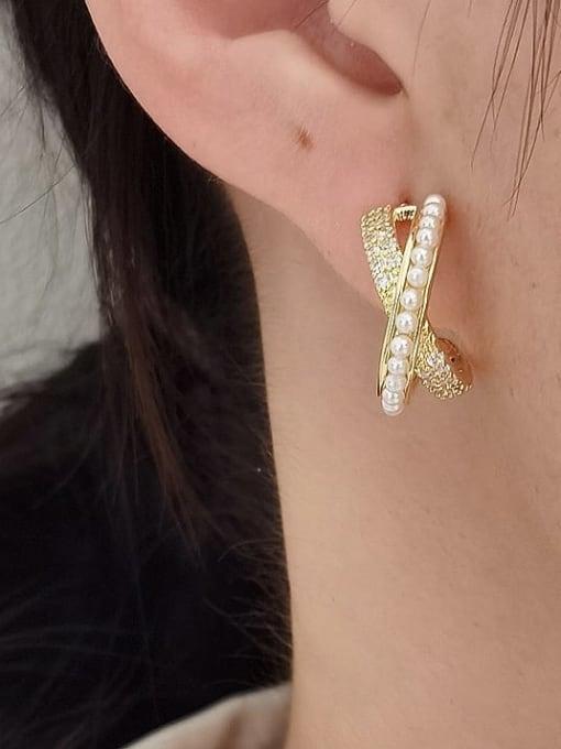 HYACINTH Brass Imitation Pearl Cross Minimalist Stud Earring 1