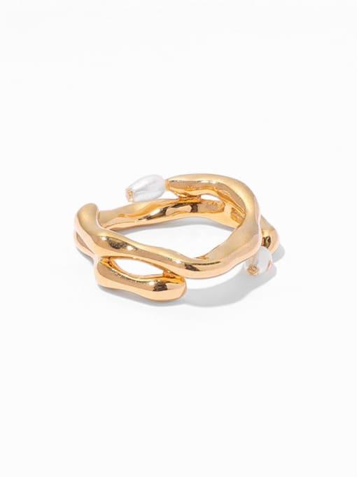 Pearl Ring Brass Imitation Pearl Geometric Vintage Band Ring