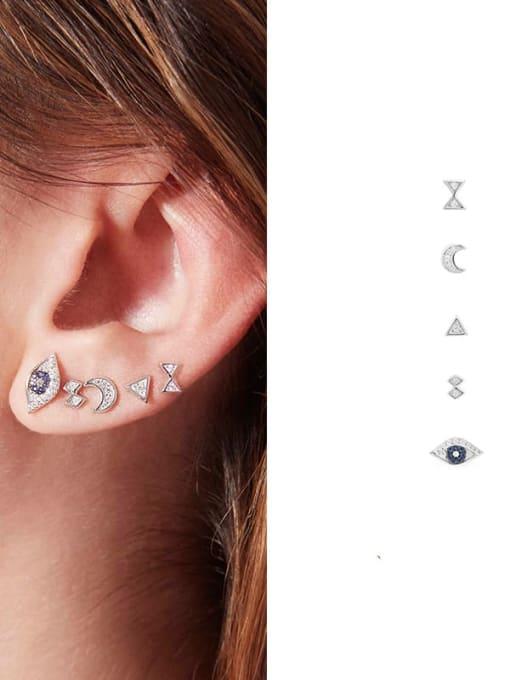 3 Brass Cubic Zirconia Irregular Hip Hop Drop Earring