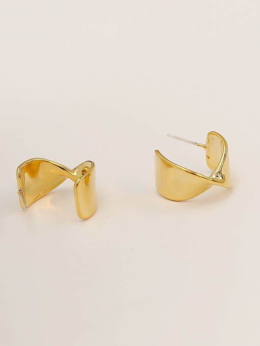 HYACINTH Brass Smooth Irregular Hip Hop Stud Earring 2