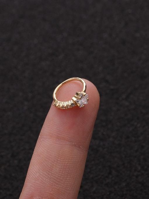 Gold star(Single) Brass Cubic Zirconia Heart Cute Huggie Earring