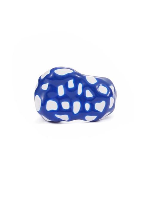 Blue white contrast (No. 7) Zinc Alloy Enamel Geometric Minimalist Band Ring