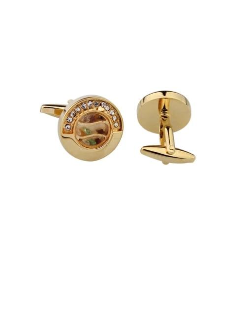 golden Brass Rhinestone Round Vintage Cuff Link