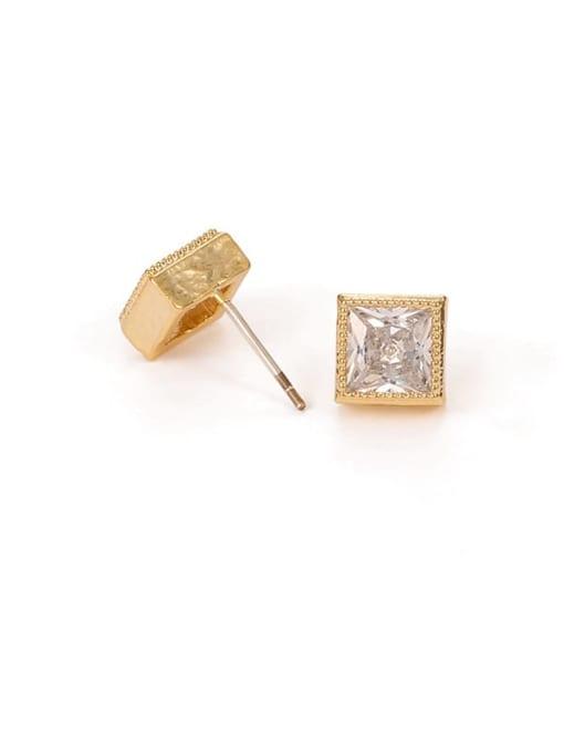 Square Earrings Brass Cubic Zirconia Geometric Hip Hop Stud Earring