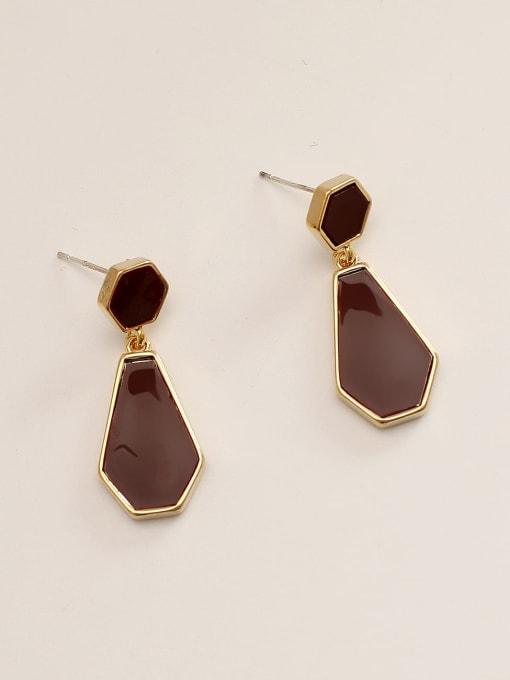 HYACINTH Brass Enamel Geometric Vintage Drop Earring 0