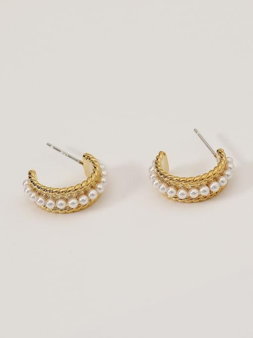 HYACINTH Alloy Imitation Pearl Geometric Minimalist Stud Earring 2