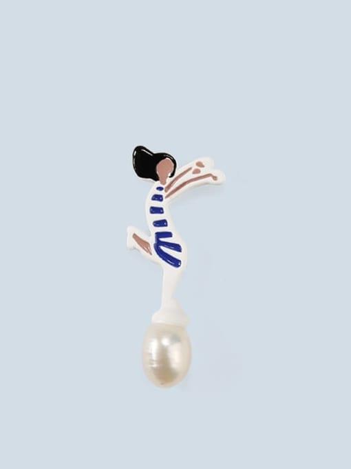 2 (for sale only) Alloy Imitation Pearl Enamel Irregular Cute Stud Earring