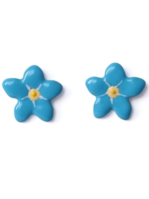 Five Color Alloy Enamel Flower Cute Stud Earring