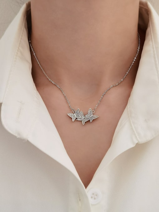 HYACINTH Brass Cubic Zirconia Butterfly Minimalist Necklace 1