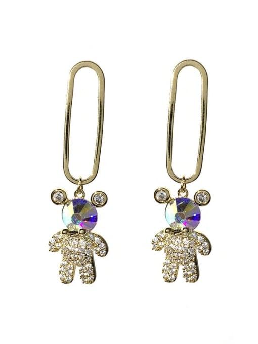 SUUTO Brass Cubic Zirconia Bear Vintage Drop Earring 2
