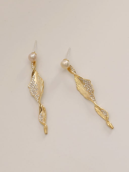 HYACINTH Brass Cubic Zirconia Irregular Ethnic Drop Earring 4