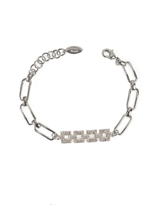 ACCA Brass Cubic Zirconia Geometric chain Vintage Bracelet 2