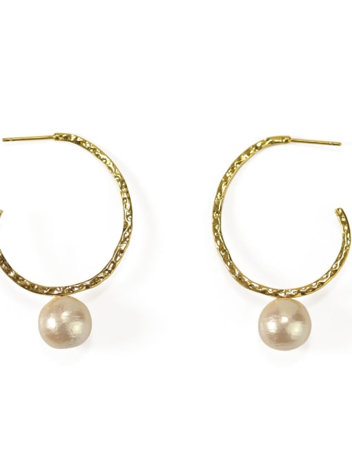 Cotton beads Brass Imitation Pearl Geometric Vintage Hoop Earring